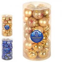 Ялинкові кульки 8514 пластик, 6см, в коробці 30шт, новорічні прикраси, новорічні іграшки, ялинкові іграшки, новий рік