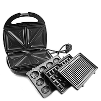 Гриль, бутербродница, вафельница, орешница Domotec MS-77041000W 4в1! Акция