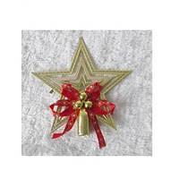Верхушка-звезда с декором 8921 разноцветная, 15см, в упаковке 1шт, елочные игрушки, новогодние украшения, новогодние игрушки, новый год, новогодний