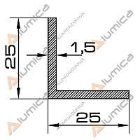 Уголок алюминиевый 25х25х1.5 мм без покрытия ПАС-1030 (БПО-1250)