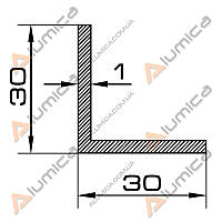 Уголок алюминиевый 30х30х1 мм анодированный ПАК-0024