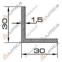 Уголок алюминиевый 30х30х1.5 мм без покрытия БПО-1251