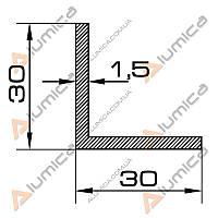 Уголок алюминиевый 30х30х1.5 мм анодированный БПО-1251
