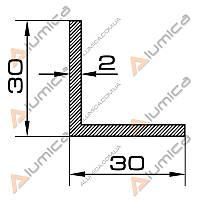 Уголок алюминиевый 30х30х2 мм без покрытия ПАС-1026 (БПО-0854)