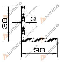 Уголок алюминиевый 30х30х3 мм анодированный ПАС-0051 (БПО-0859)