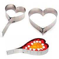 "Форма для выпечки разборная ""Сердце"" H11855 нержавеющая сталь, 12-26 см, раздвижная регулируемая, формы для выпечки, формы для выпекания"