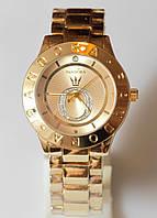 Наручные кварцевые часы HS0070 с металлическим браслетом золотистого цвета, фото 1