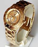 Наручные кварцевые часы HS0070 с металлическим браслетом золотистого цвета, фото 5