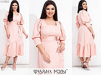 Сукня жіноча міді приталеного крою об'ємними рукавами на манжетах (3 кольори) SD-730 - Пудровий, фото 1