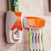 Диспенсер дозатор для зубной пасты и щеток автоматический ZGT SKY ОРАНЖЕВЫЙ! Акция