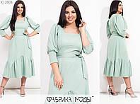 Сукня жіноча міді приталеного крою об'ємними рукавами на манжетах (3 кольори) SD-730 - Ментоловий, фото 1