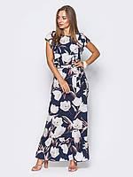 Женское модное макси платье с цветочным принтом и поясом р.44,46