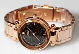 Наручные кварцевые часы HS0076 с металлическим браслетом золотистого цвета, фото 5