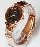 Наручные кварцевые часы HS0076 с металлическим браслетом золотистого цвета, фото 6