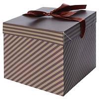 """Коробка подарочная бумажная """"Мужская"""" N00382 квадратная, 22*22*22см, коричневый, ящик для хранения, корзина, ящик, коробки для хранения, коробки"""