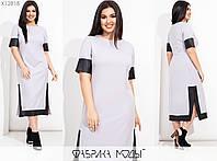 Жіноче плаття міді з контрастною обробкою з еко-шкіри (3 кольори) SD/-724 - Сірий, фото 1