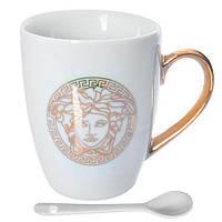 """Чашка керамическая с ложечкой """"Versace"""" N01991 объем 175мл, белая, чашки, кружка, посуда, столовая посуда, оригинальные чашки и кружки"""
