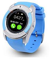 Наручные смарт часы V8 Smart Watch синиии. Лучшее качество! Акция