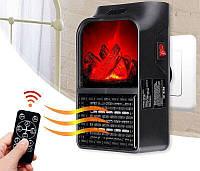 Электрообогреватель портативный с пультом Flame Heater 6730, с имитацией камина | мини обогреватель в розетку!