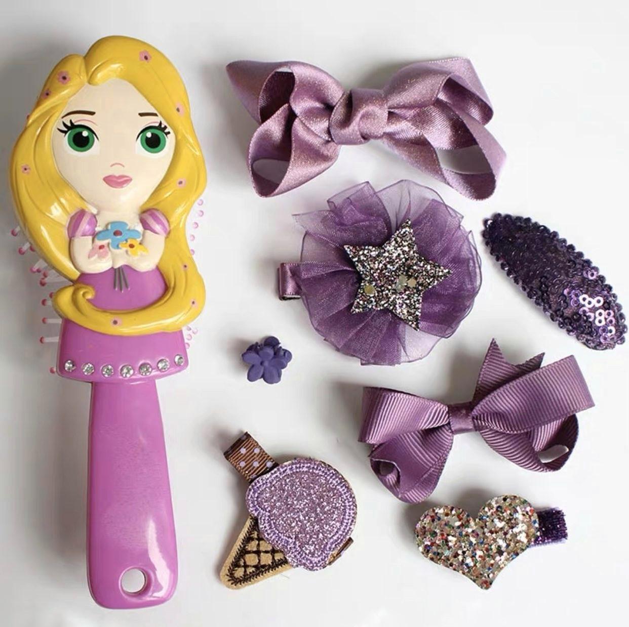 Набор детских аксессуаров заколки и расческа для девочек младшего возраста Рапунцель