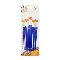 """Набор кистей для рисования """"Tulip"""" синтетика, плоские, в наборе 12шт, ручка пластик, кисть, художественные кисти, кисточка, кисти для рисования"""