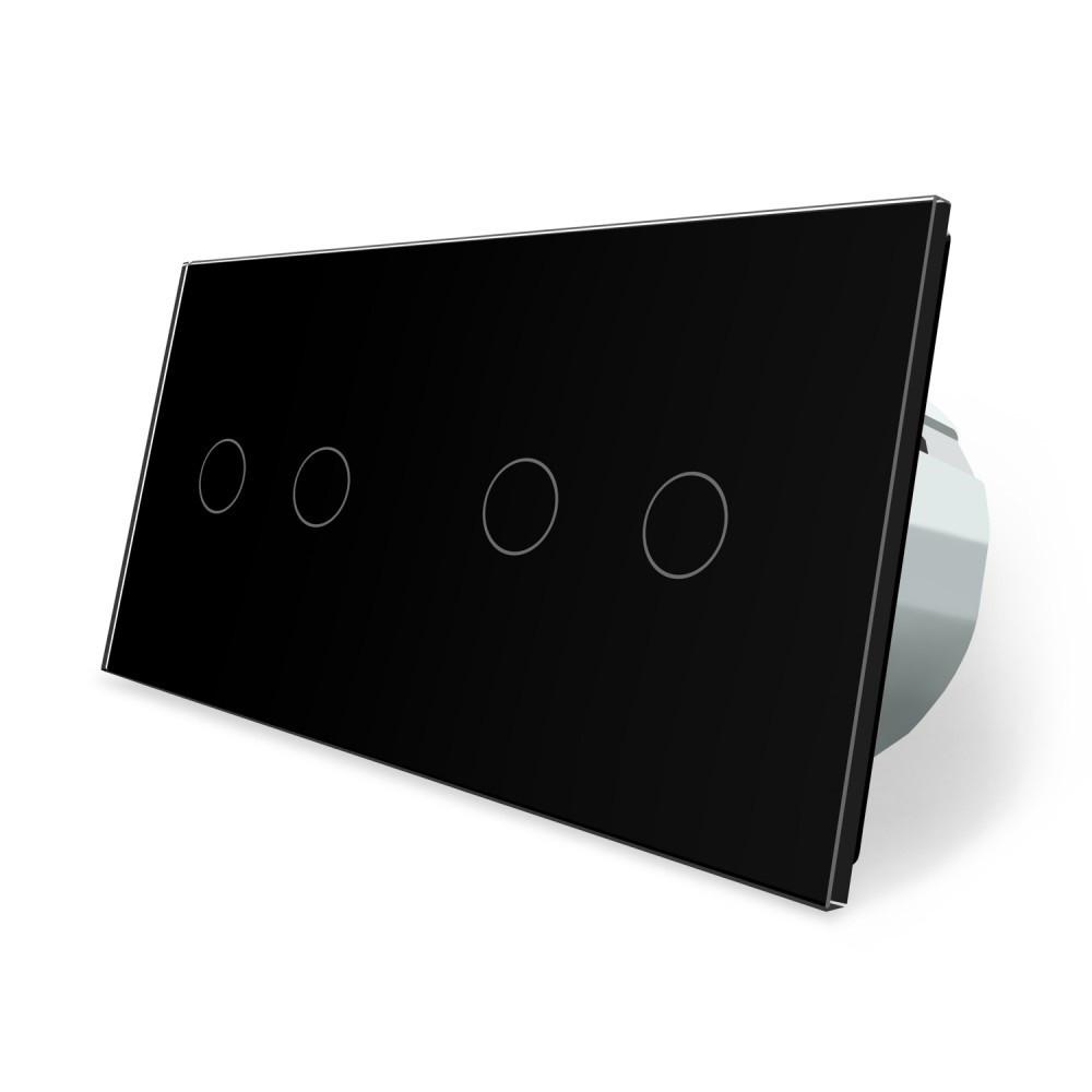 Сенсорный выключатель Livolo 4 канала (2-2) черный стекло (VL-C702/C702-12)