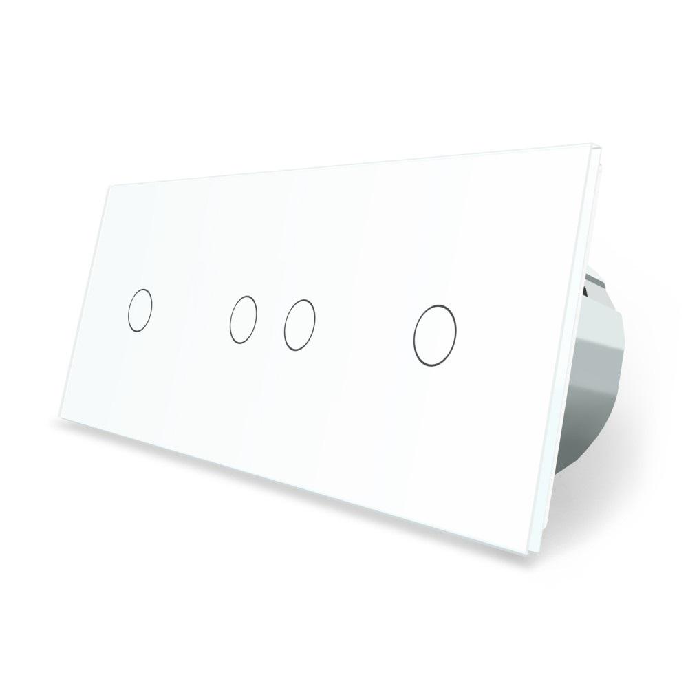 Сенсорный выключатель Livolo 4 канала (1-2-1) белый стекло (VL-C701/C702/C701-11)