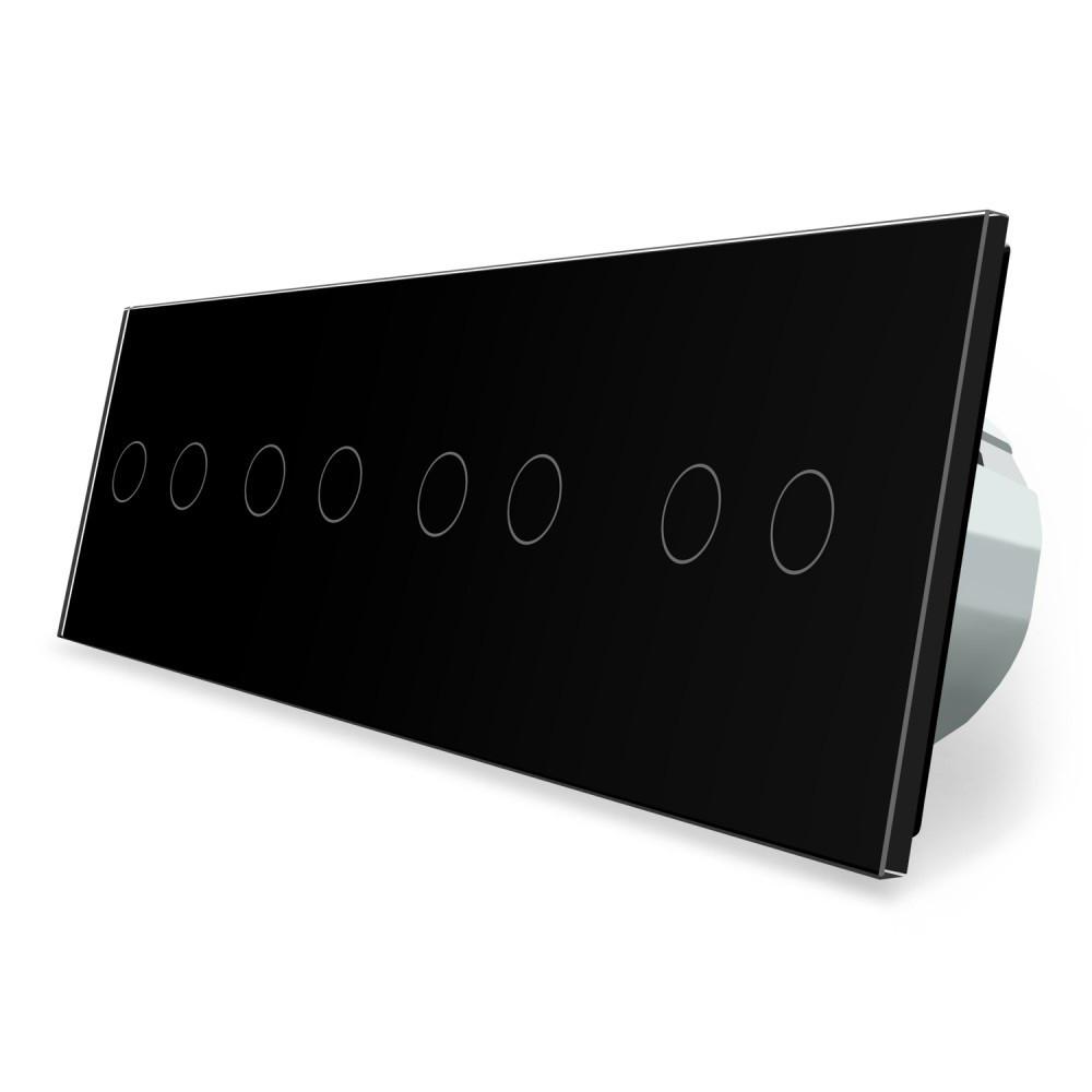 Сенсорный выключатель Livolo 8 каналов (2-2-2-2) черный стекло (VL-C708-12)