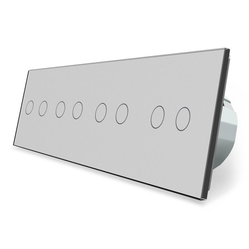 Сенсорный выключатель Livolo 8 каналов (2-2-2-2) серый стекло (VL-C708-15)