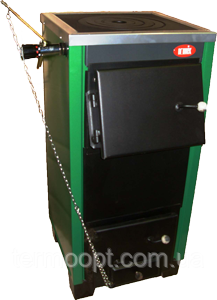 Котёл для твёрдого топлива КОТВ-18П Сталь 4 мм. с варочной панелью