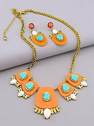 Комплект объёмной бижутерии оранжевого цвета подвеска на шею и серьги