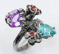 Серебряное Кольцо ручной работы с Аметистом, Цирконом и Гранатами, фото 1
