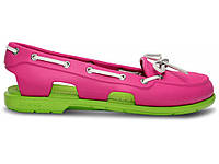 Женские мокасины Сrocs Beach Line Boat Shoe green-pink, фото 1