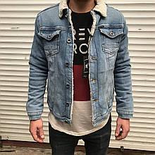 Модная мужская  джинсовая Куртка утеплення на меху