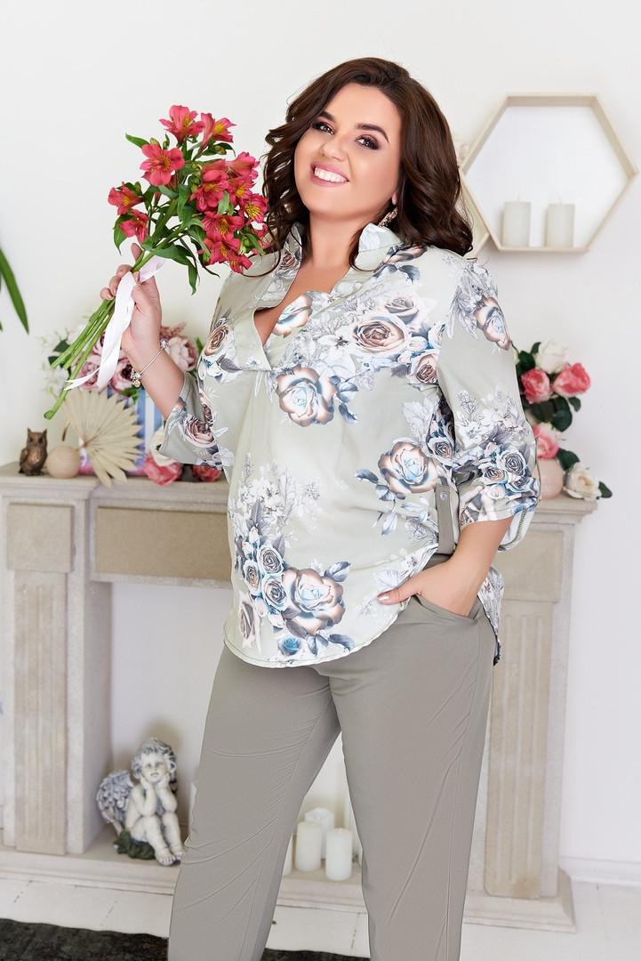 Костюм женский брючный, большого размера, повседневный, офисный, блуза принт и полоска, модный, до 60 размера