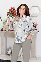 Костюм женский брючный, большого размера, повседневный, офисный, блуза принт и полоска, модный, до 60 размера, фото 1