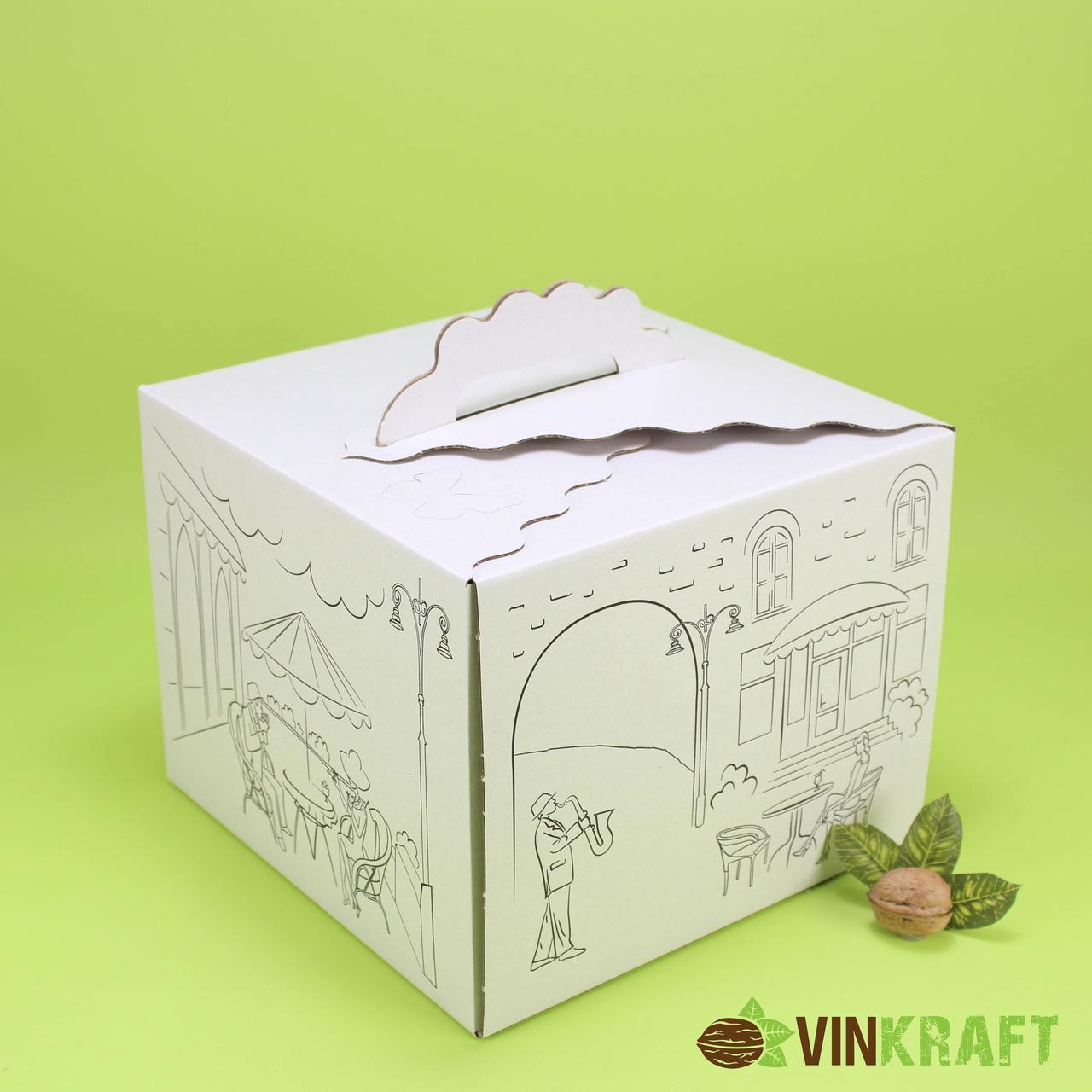 "Коробка 250*250*200 для торта ""Метелик"" гофрокартон, з малюнком"