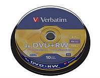 Verbatim Диски DVD+RW (43488) 4.7GB 4x Cake, 10шт Silver