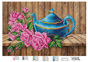 """Схема для частичной вышивки бисером 1958 - """"Розы к чаю 1"""" А3"""