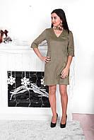 Платье из замши для кормления - Оливковый L, фото 1