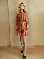 Нарядное шифоновое мини-платье в стиле этно, цвета пудра-терракот, на свадьбу, на выпускной, повседневное