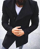 Мужское пальто двубортное черного цвета
