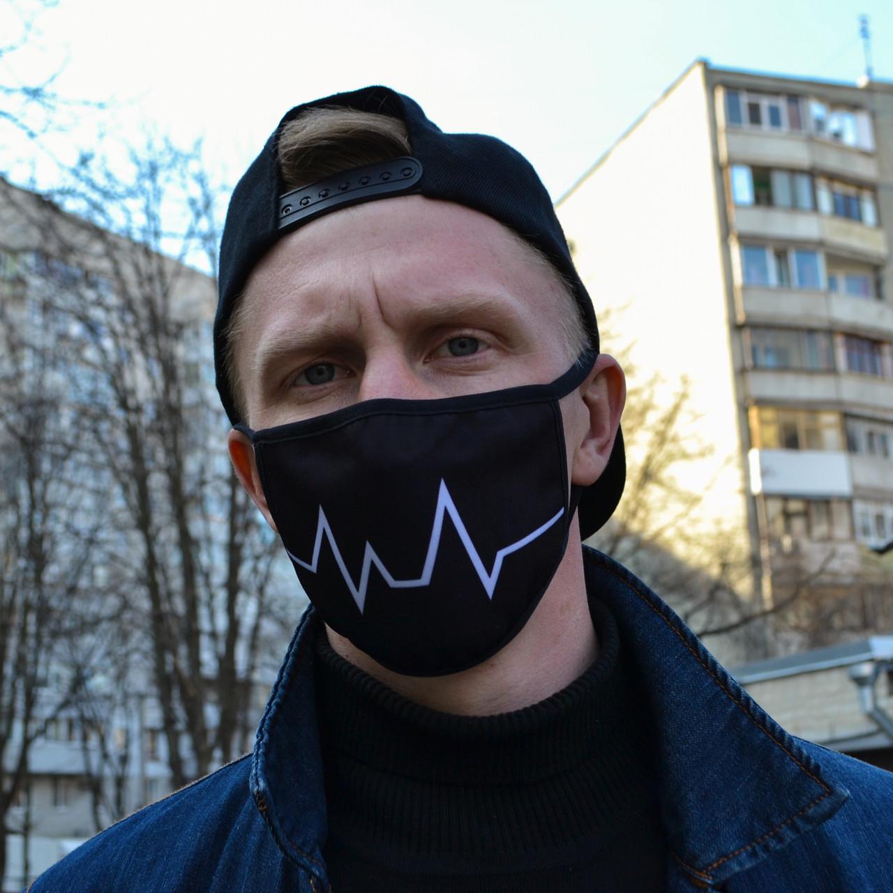 "Маска унисекс черная маска для лица ""Кардиограмма"" многоразовая тканевая"