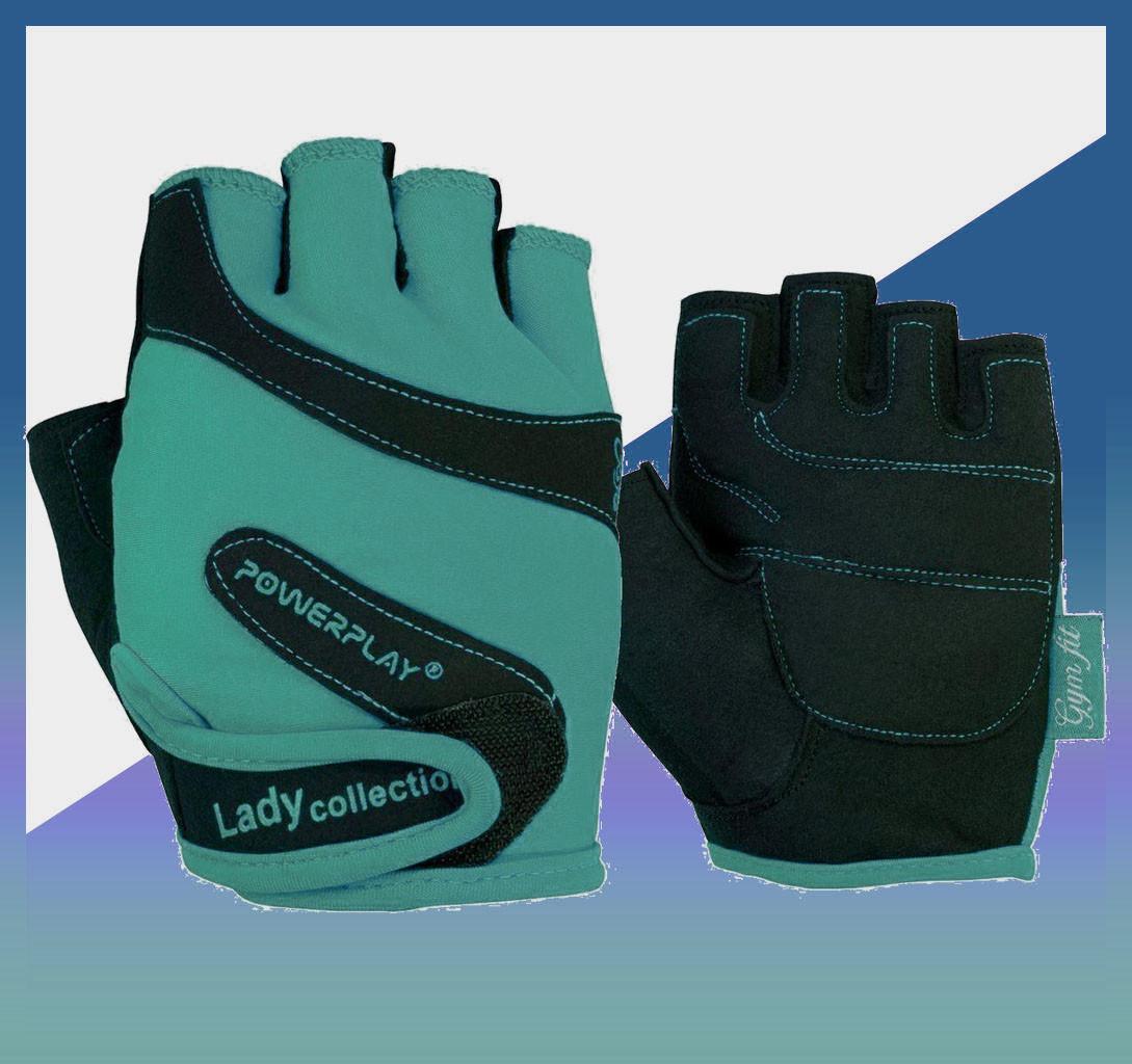 Перчатки женские для фитнеса и занятий в спортзале Блакитні M