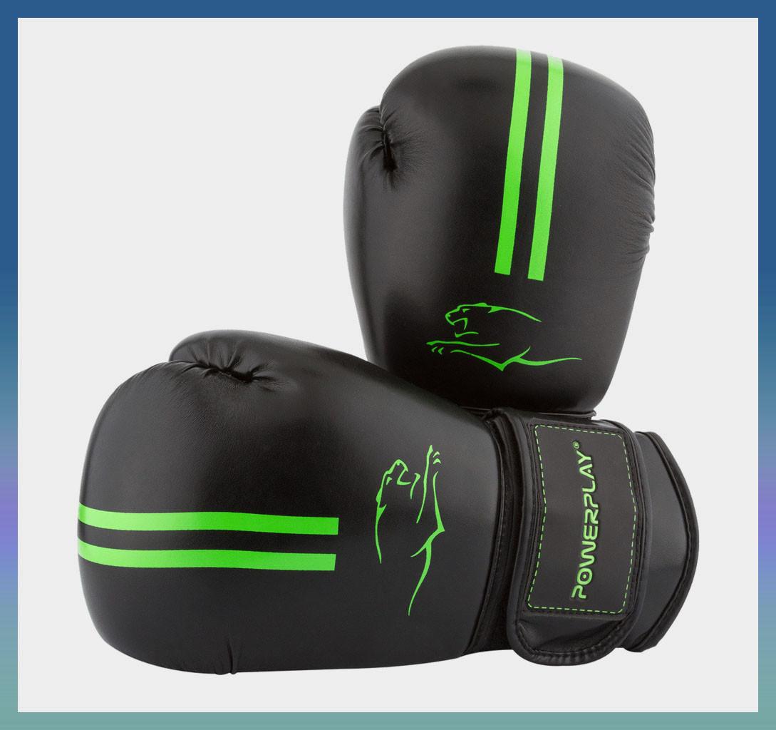 Боксерские перчатки 3016 Чорно-Зелені 8 унцій