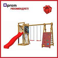 Уличная детская площадка с горкой качелями и стеной для лазания для дачи для дома экологическая деревянная