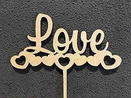 Топпер деревянное слово LOVE
