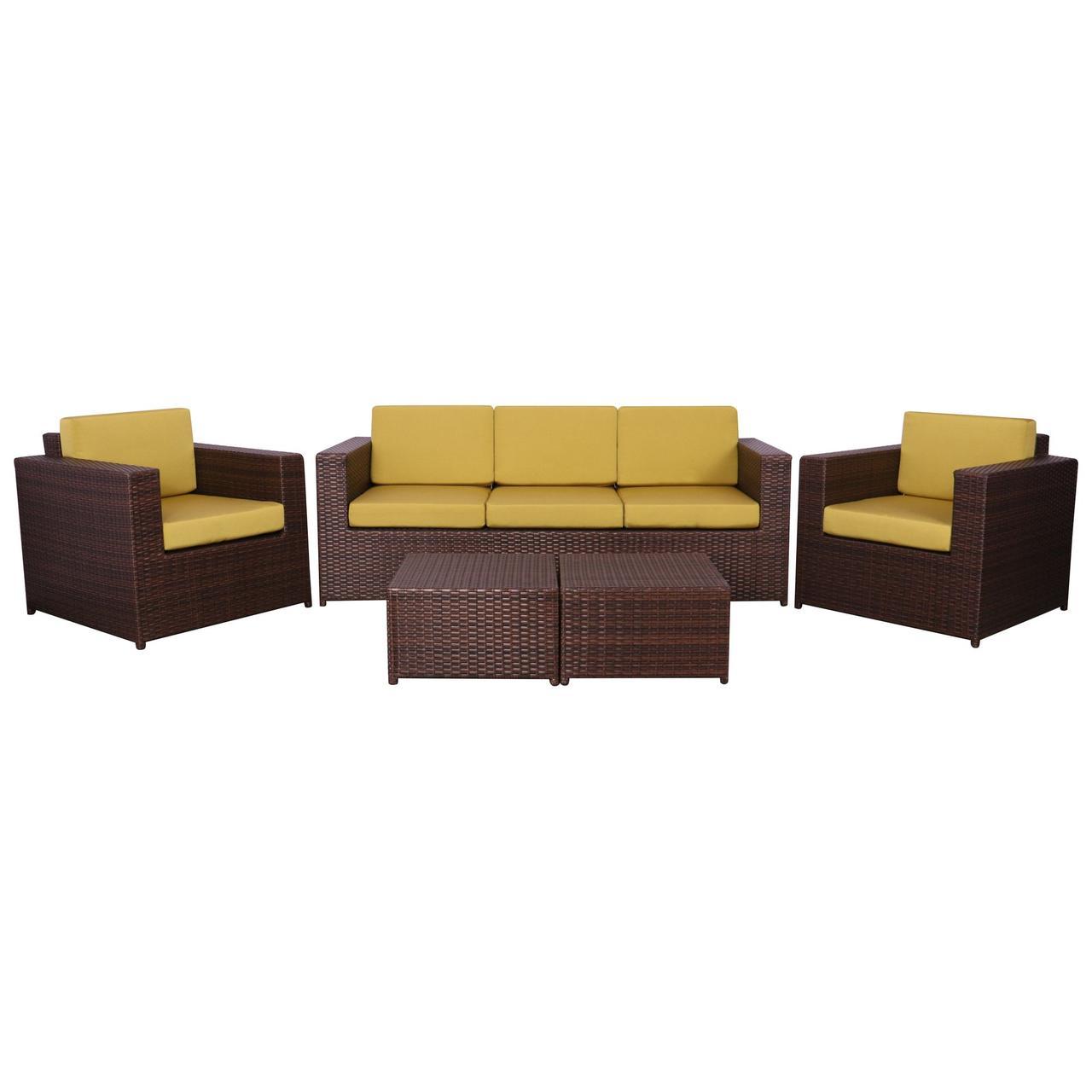 Комплект мебели Santo из ротанга Elit (SC-B9508) Brown Mixed YF1217 ткань A14203
