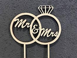 Топпер деревянное слово Mr & Mrs