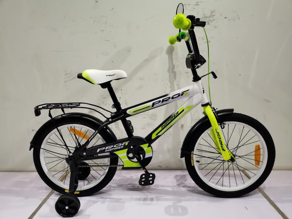 Двухколесный детский велосипед PROFI 18 дюймов SY1854 Inspirer черно-бело-салатовый